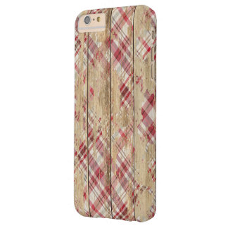 Faded Plaid and Wood Barely There iPhone 6 Plus Case