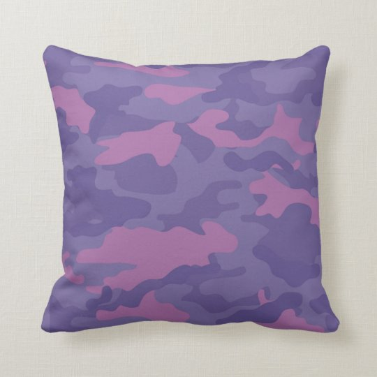 Faded Purple Camo Throw Pillow