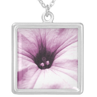 Faded purple flower macro picture silver plated necklace