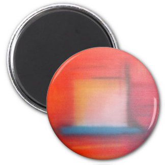 Faded Red Abstract Oil Painting Magnet