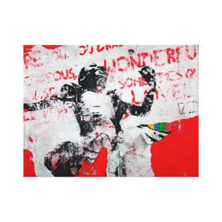 Faded Red and White Graffiti with African Stencil Canvas Print