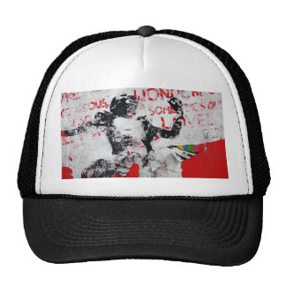 Faded Red and White Graffiti with African Stencil Hat