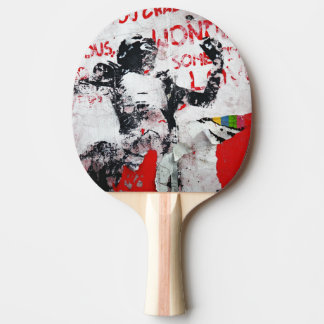 Faded Red and White Graffiti with African Stencil Ping Pong Paddle