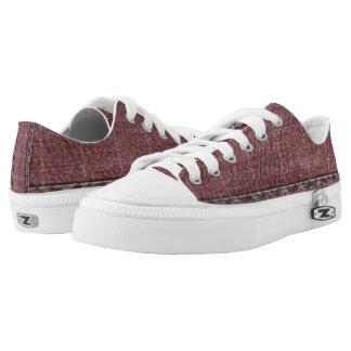 Faded Red Denim. Low-Top Sneakers