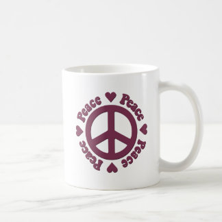 Faded Red Peace and Love Coffee Mug