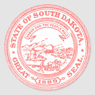 Faded Red South Dakota Classic Round Sticker