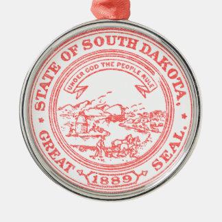 Faded Red South Dakota Metal Ornament