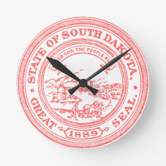Faded Red South Dakota Round Clock