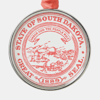 Faded Red South Dakota Silver-Colored Round Ornament