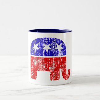 Faded Republican Elephant Two-Tone Coffee Mug