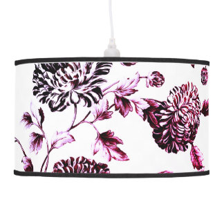 Faded Rose Vintage Botanical Floral Toile No.2 Pendant Lamps