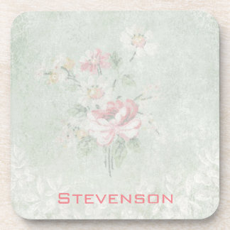 Faded Roses Shabby Vintage Design Personalized Coaster