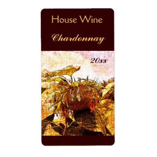 Faded sunflower wine bottle label shipping label