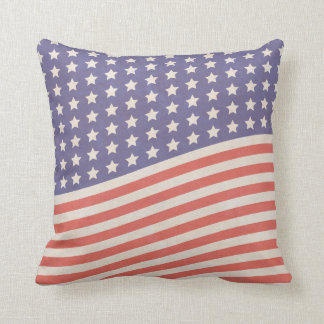 Faded Vintage American Flag Stars and Stripes Throw Pillow