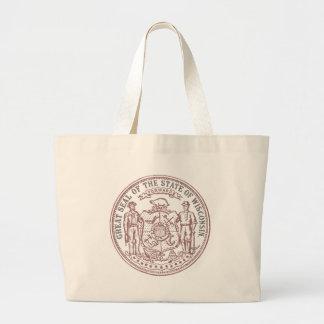 Faded Wisconsin Seal Large Tote Bag
