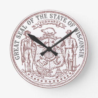 Faded Wisconsin Seal Round Clock