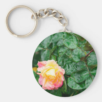 Fading autumn rose with droplets keychain