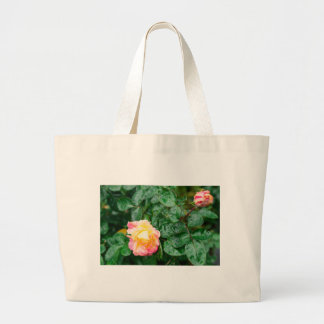 Fading autumn rose with droplets large tote bag