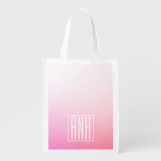Fading Pinks Ombre Gradation & Your Initials Reusable Grocery Bag