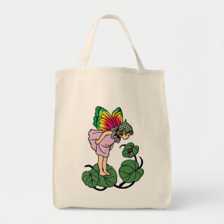 Faerie and Lady Bug Tote Grocery Tote Bag