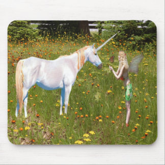 Faerie and unicorn mouse pad