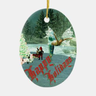 Faerie & Gnome Christmas! Ceramic Oval Ornament