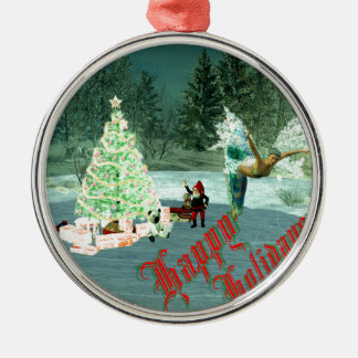 Faerie & Gnome Christmas! Silver-Colored Round Ornament