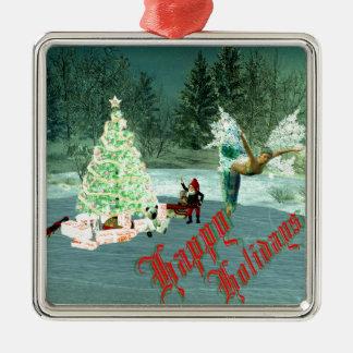 Faerie & Gnome Christmas! Silver-Colored Square Ornament