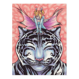 Faerie Hugs: White Tiger Postcard