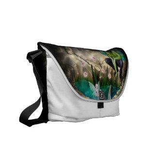 Faerie in Elven Pond Vignette Messenger Bags