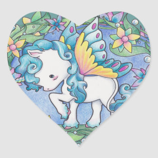 Faerie Unicorn Heart Sticker