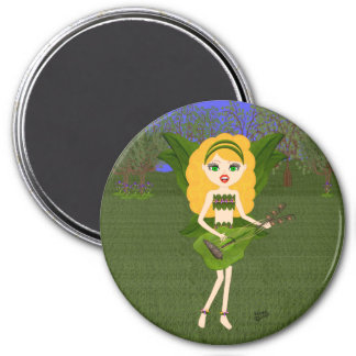 Faerie with Green Leaf  Wings and Guitar Fridge Magnets