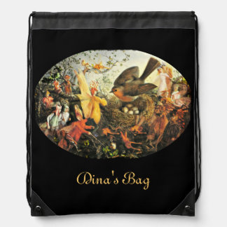 Faeries and the Robin Drawstring Bag
