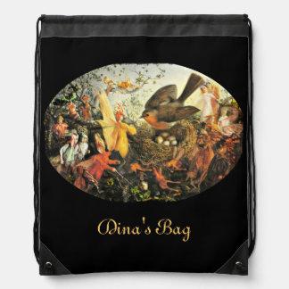 Faeries and the Robin Drawstring Bag