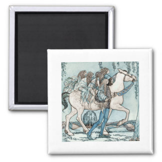 Faeries on a White Stallion Magnet