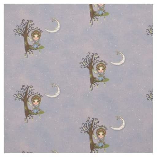 Faery Celestial Keeper Moon & Stars Fabric