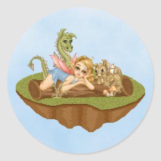 Faery Land Friends Pixel Art Classic Round Sticker