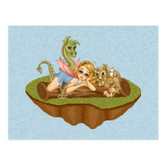 Faery Land Friends Pixel Art Postcard