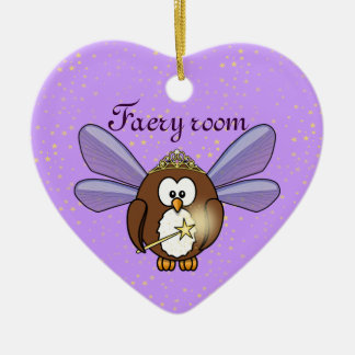 faery owl ceramic heart ornament