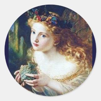 faery pixie magic fairy tale fantasy pretty girl round sticker