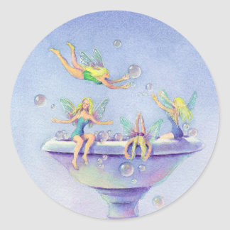 FAIERIES BUBBLE BATH by SHARON SHARPE Classic Round Sticker