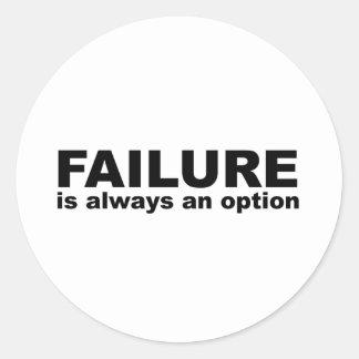 failure is always an option classic round sticker