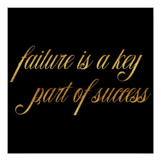 Failure Success Quote Gold Faux Foil Inspirational Poster