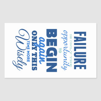 Failure Vintage Typography Inspirational Card Rectangular Stickers