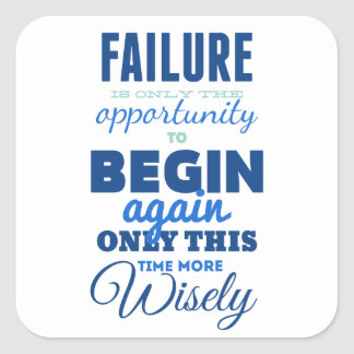 Failure Vintage Typography Inspirational Card Square Stickers