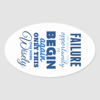 Failure Vintage Typography Inspirational Card Oval Sticker