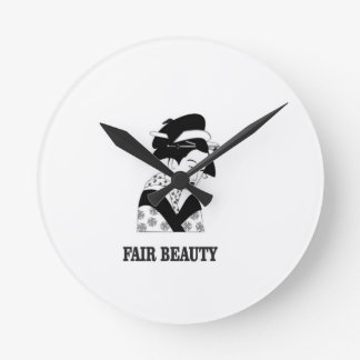 fair beauty woman wall clock