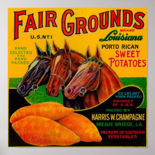 Fair Grounds Yam LabelBreaux Bridge, LA Poster
