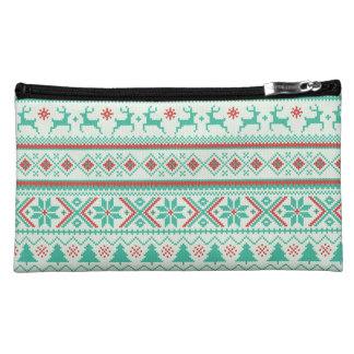 """Fair Isle Pattern"" Merry Christmas Cosmetic Bag"