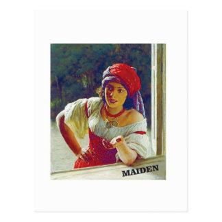 fair maiden leans postcard